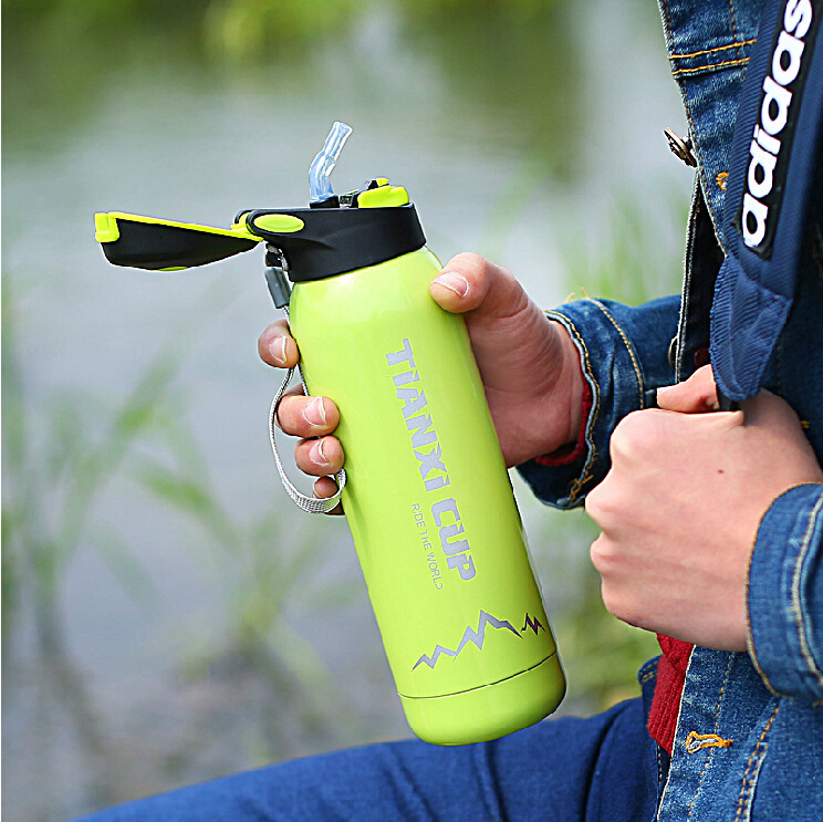 500ML Outdoor Camping Thermos My Bottle Stainless Steel Vacuum Water Bottle Travel Termos With Straw Hiking Bicycle Sport Cup