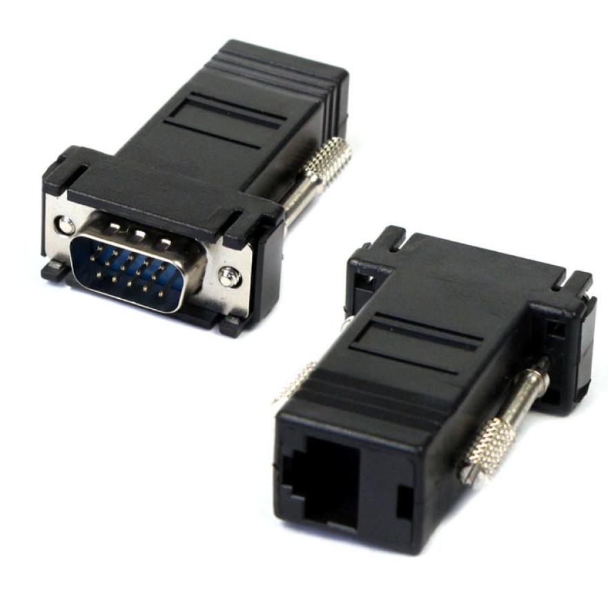Best Price New VGA Extender Male To Lan Cat5 Cat5e RJ45 Ethernet Female Adapter