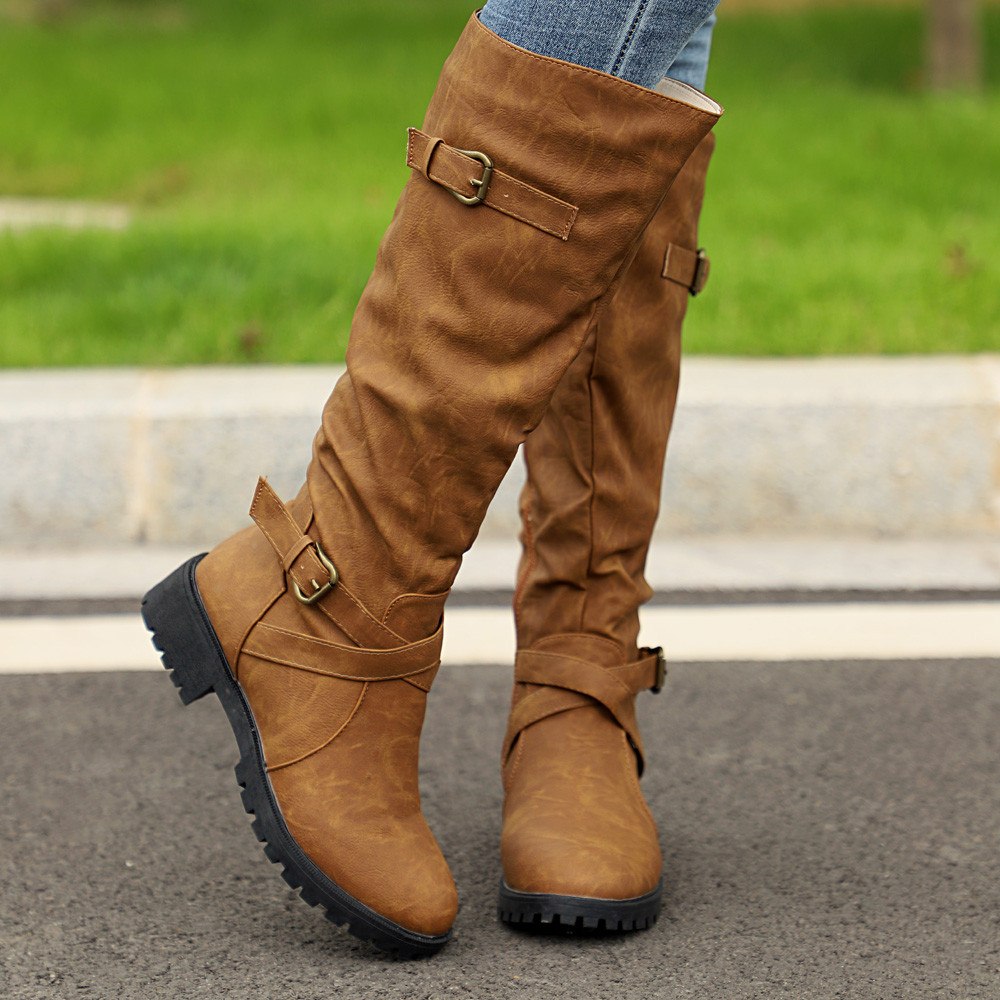 Military Shoes Punk Ladies Dropshipping High Zip Boots 97 From Us17 Army Knee Combat For Mid womens 20180823 In 27Off Calf Biker DHI29E