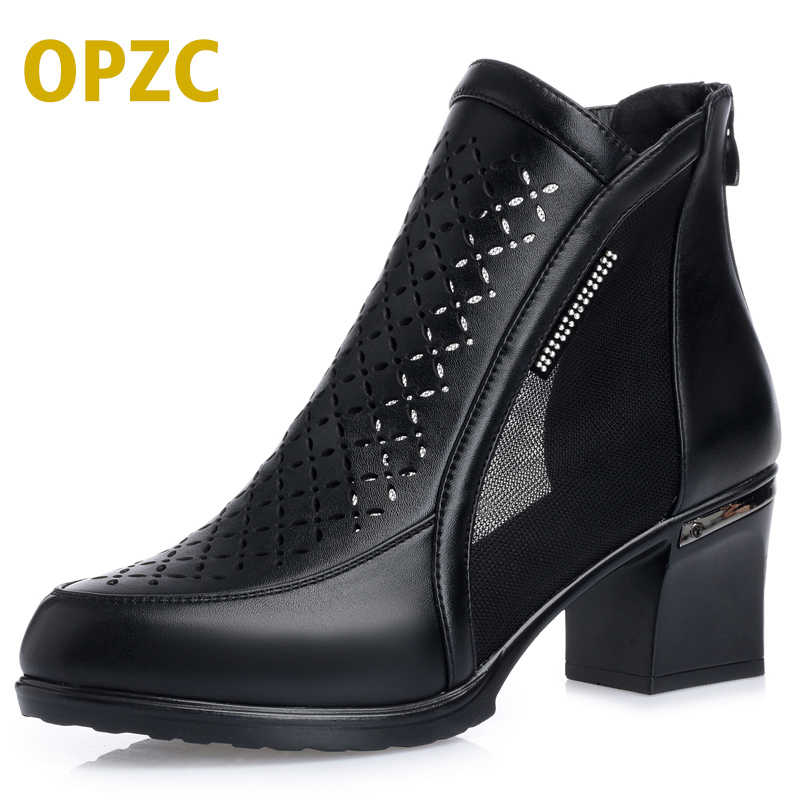 все цены на OPZC Fashion women's summer genuine leather ankle boots Vamp hollow-out Net yarn splicing female shoes solid equestrian riding онлайн