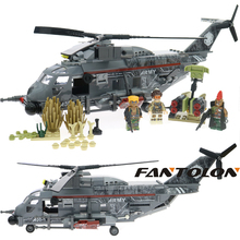 Laing Commando Military Action Figures Fighter Loader Model Building Blocks Helicopter Forces War Brick Toys For Children 340Pcs