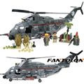 Laing Commando Military Action Figures Fighter Loader Model Building Blocks Helicopter Forces War Brick Toys For Children 340Pcs