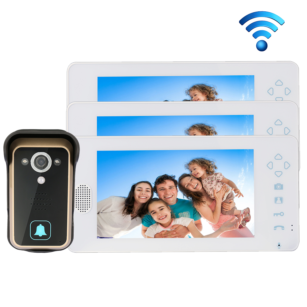 Free Shipping 2.4GHZ Wireless 7 Touch Color TFT LCD Video Intercom Door Phone 1 Waterproof Doorbell Camera + 1 White Monitor 8 4inch 8 4 non touch industrial control lcd monitor vga interface white open frame metal shell tft type 4 3 800 600