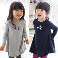 Versão coreana do novo 2017 primavera cereja meninas miúdos crianças por muito tempo sleeved crianças qz-0451 vestido de pêndulo