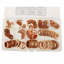 225 Pcs 15 Sizes 1mm 1.5mm Copper gasket  Metric Sealing Washers Assortment Set M5 M6 M8 M10 M12 M14 M16 M18 M20 M22 150pcs set brass copper flat washers m5 m6 m8 m10 m12 m14 m16 m18 m20 m22 sealing gaskets assortment set kit with box 15 sizes