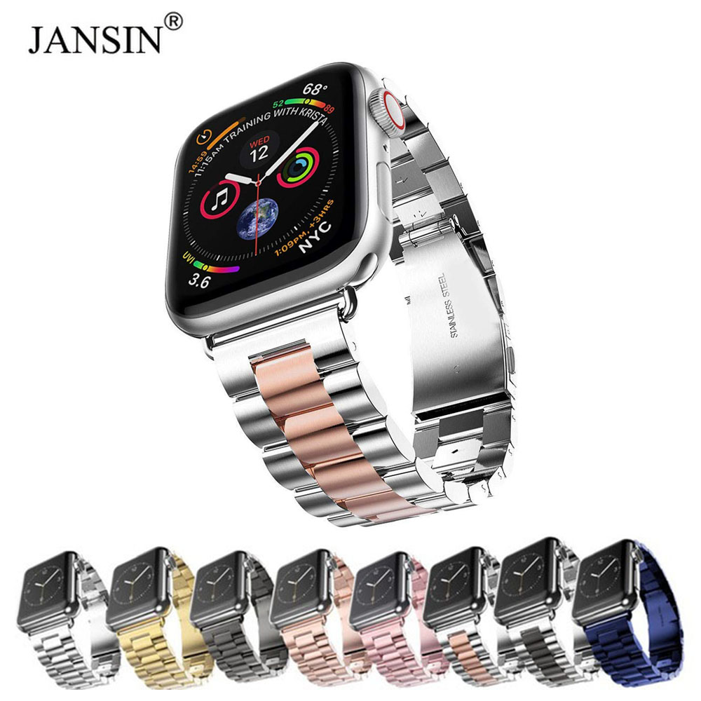 Para reloj Apple Watch banda 44mm 40mm 38mm 42mm de Metal de moda pulsera deporte correa de acero inoxidable para iWatch serie 4 3 2 1 correas