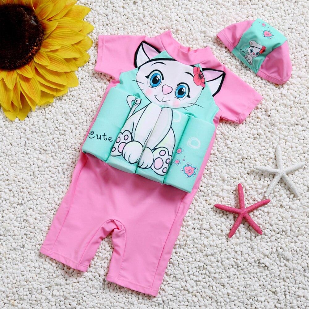 Детский купальный костюм для девочек и мальчиков, цельный купальный костюм со съемным плавающим купальным костюмом, детский спасательный ж...