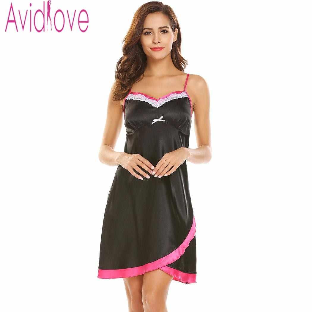 2a1fb0f5be40 Avdlove летние пикантные атласные шелковые Ночное для женщин Цветочный  кружево ...