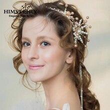 Vintage Handmade Pearl Hairband Floral Long Tassel Tiara Wedding Accessories Bridal Hair Retro Headbands Crown