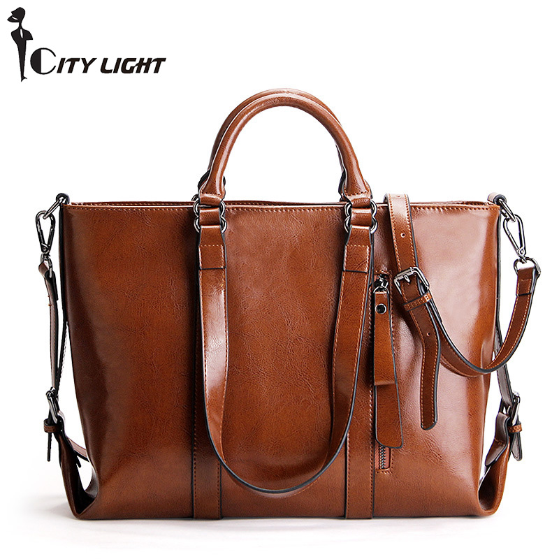 Brand Genuine Leather Women Shoulder Bag Solid Oil Wax Leather Handbag Fashion Large Capacity Casual Tote Women Crossbody Bag new 2017 fashion brand genuine leather women handbag europe and america oil wax leather shoulder bag casual women