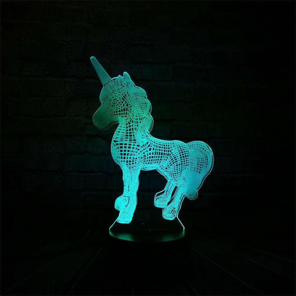 2018 NEW Animal Kawaii Unicorno 3D LED LUCE di NOTTE DELLA LAMPADA Multicolore di RGB Lampadina Regalo Di Natale Decorativo Del Fumetto Giocattoli Luminaria di LAVA
