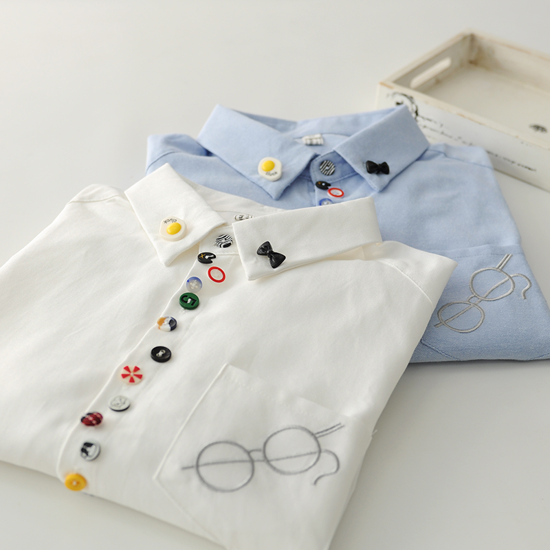 Colorful Buttons Glasses Embroidery  Long Sleeve Oxford Cloth Shirt Blouse Mori Girl
