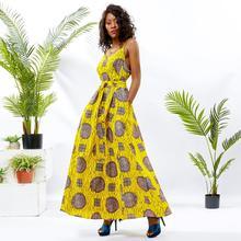 Shenbolen African dresses for women ankara clothing halter dress cotton wax print african clothes