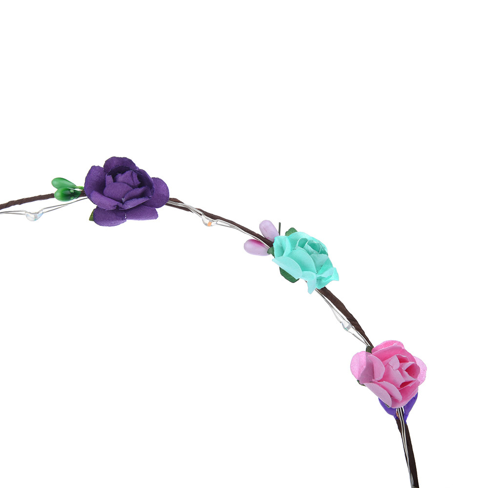 long light and shiny LED Flower Floral Hairband Garland Crown Glowing Wreath Vines Headband #6