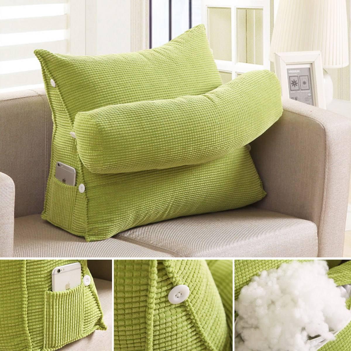 HTB1B0Z7X6DuK1Rjy1zjq6zraFXac Triangle Sofa Cushion Back Pillow Bed Backrest Office Chair Pillow Support Waist Cushion Lounger TV Reading Lumbar Home Decor