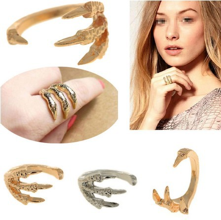 Wholesale 6pcs Trendy Gold P Claw Paw Talon Rings Antique Eagle Bird Gothic Punk Rock open rings Free Ship