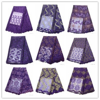 Purple African Lace High Quality French Lace Fabric Purple Embroidery African Lace Fabric For Nigerian Wedding