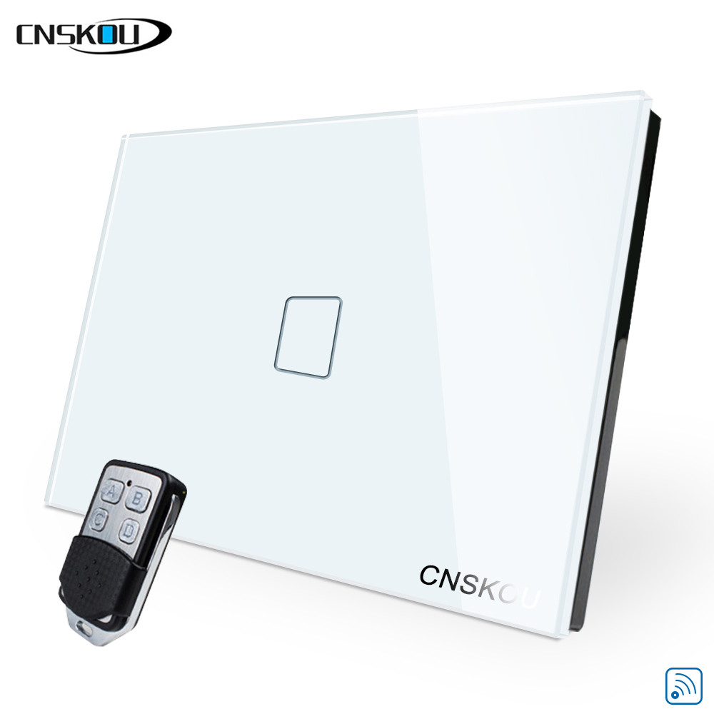 Cnskou US wireless 1gang 250v remote control touch switch for led lamp gold crystal glass touch sensor switch panel smart home in Switches from Lights Lighting