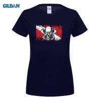 GILDAN Flag Diver Scuba Youth Pure Round Collar T Shirt Women Causal Cotton Tshirt Big Size