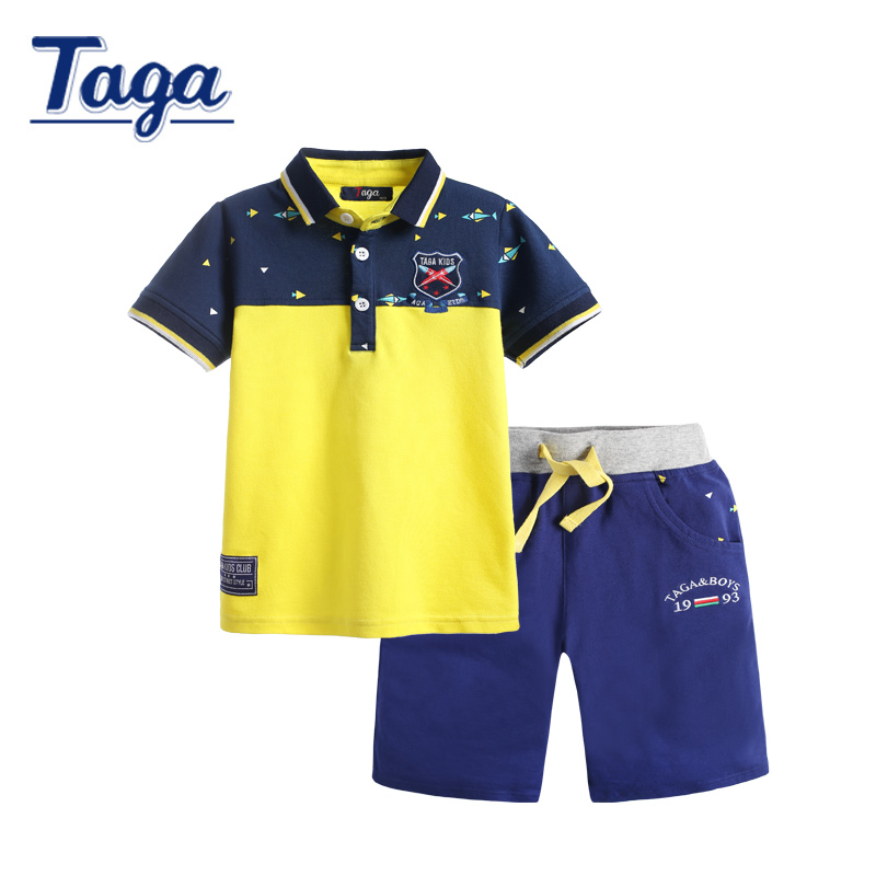 New Taga brand children clothing set 2016 summer Boys short-sleeve polo shirts shorts sets baby kids clothes cotton tops pants купить