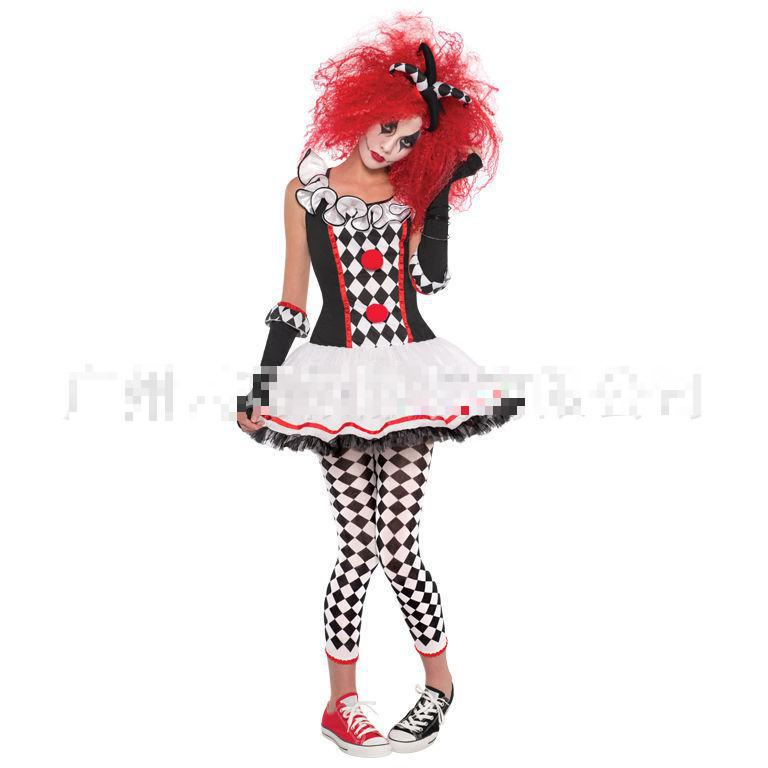 Halloween Clown Girl Outfit.Us 23 49 6 Off New Halloween Cosplay Costume Female Cosplay Dress Adult Circus Clothes Women Clown Costume Halloween Girl Dress On Aliexpress Com