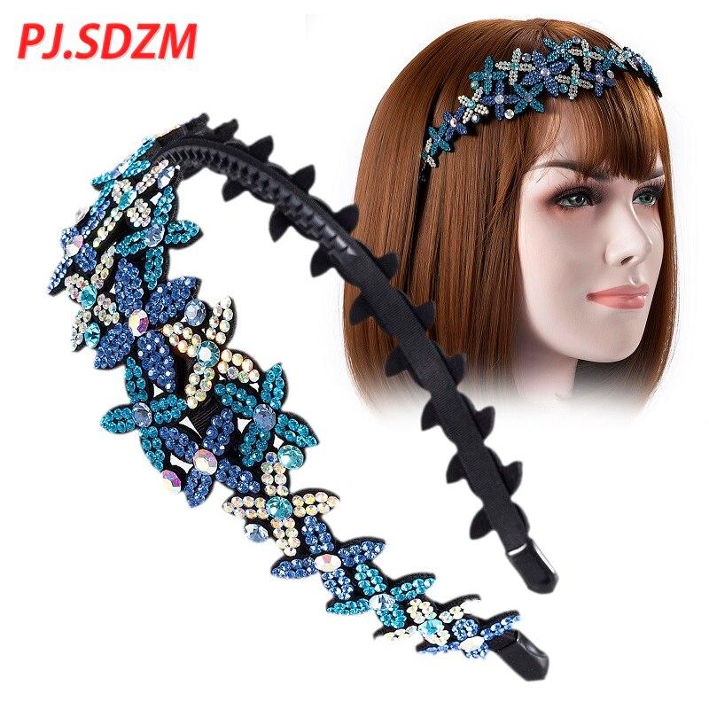 Rhinestone Women Hairband with Teeth Chic Floral Star Pattern Ladies Hair Accessories Full Crystal Girl Headband Birthday Gift