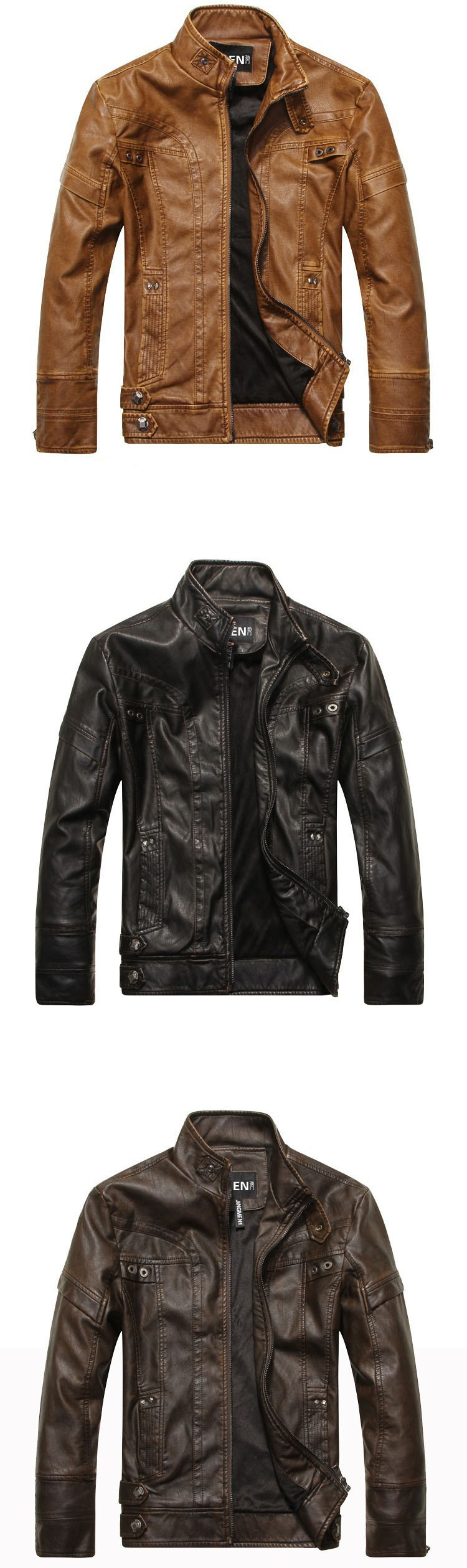 PU Leather Jacket Men 2016 Fall Winter Fashion Faux Fur Bomber Motercycle Biker Jacket High Quality Plus Velvet Casual Outwear (6)