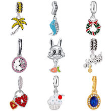 Hot Selling Tree Rabbit Bee Flower Crystal Heart Charms Beads Fit Original Pandora Charms Bracelets Jewelry for Women Berloques(China)