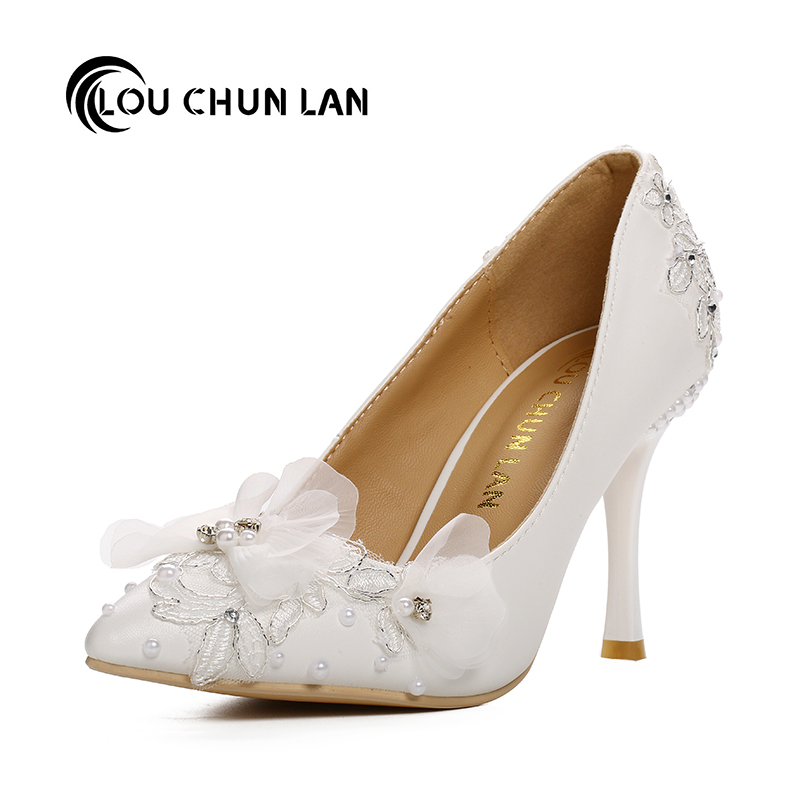 LOUCHUNLAN Women's shoes Sweet lace flower wedding shoes ultra high heels thin heels shoes bridal shoes Drop Shipping pastan heroes in disguise – poems cloth