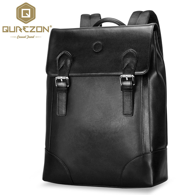 ffb4882a3cd European Style Genuine Leather Desinger Men Backpacks Fashion Brands Black  Schoolbag Real Cowhide Leather Backpack High Quality