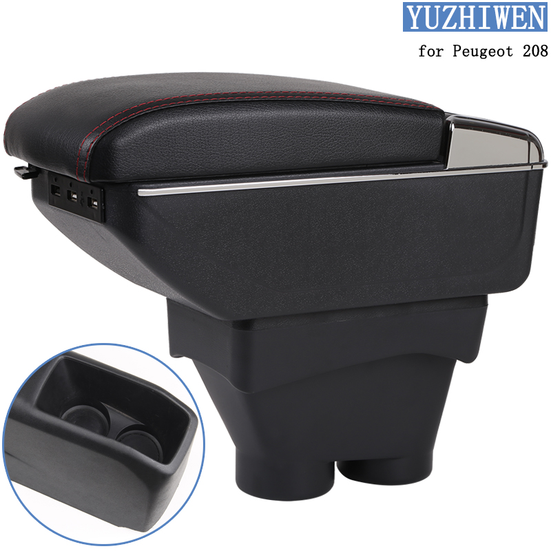 For Peugeot 208 Armrest Box Peugeot 208 Universal Car Central Armrest Storage Box cup holder ashtray modification accessories