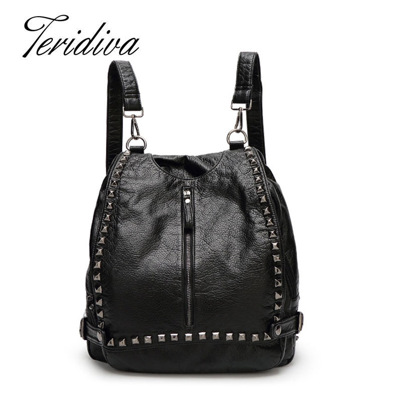 ФОТО Teridiva Multi-function Handbag Women Messenger Bags Ladies Rivet Shoulder Bags Designer Vintage Rucksack Women High Quality
