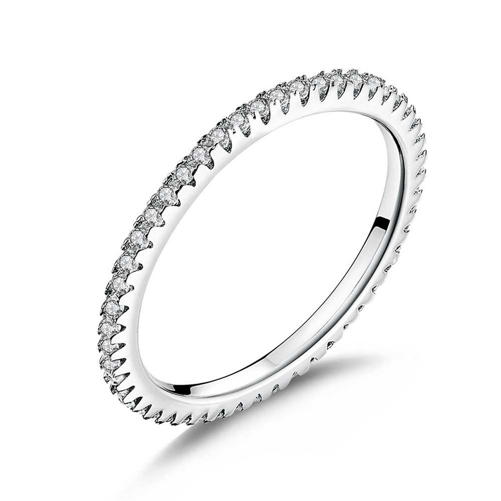 WOSTU ของแท้ 100% 925 เงินสเตอร์ลิง Glitter ซ้อนกันได้วงกลมนิ้วมือแหวนแหวนหมั้นเงินรอบเครื่องประดับ DXR066