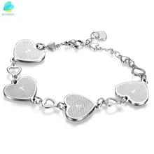 BONISKISS Womens Ladies Charm Heart English Bible Lords Prayer Cross Link Wrist Bracelet Woman Fashion Stainless Steel Bracelet