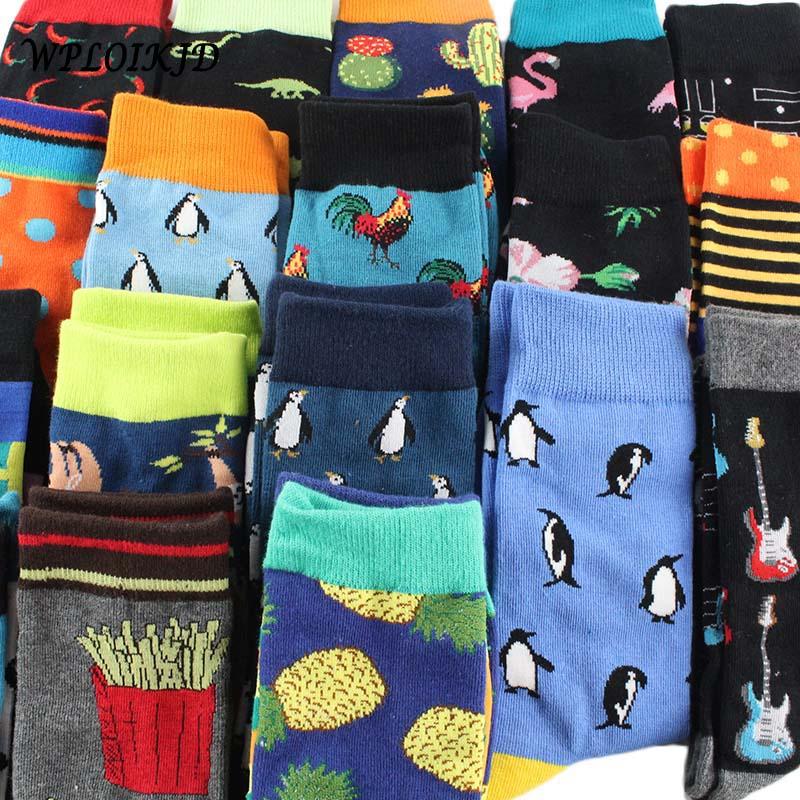 [WPLOIKJD]Hip Hop Flamingos Cactus Compression Crew   Socks   Men Casual Food Animals Antiskid Happy Funny   Socks   Homme Divertidos
