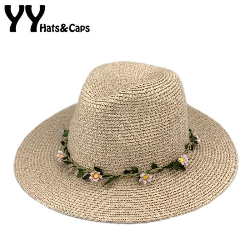 Romantisch Kleine Blume Stirnband Starw Sonnenhüte Frauen Breiter Krempe Strandkappe Sommer Sonnenblende Hut Panama Jazz Hüte Sombreros Verano Yy17104 Bekleidung Zubehör