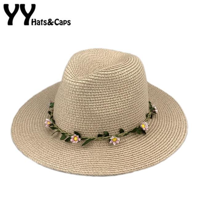 Small Flower Headband Starw Sunhats Women Wide Brim Beach Cap Summer Sun  Visor Hat Panama Jazz Hats Sombreros Verano YY17104 5ec98b4cbbf
