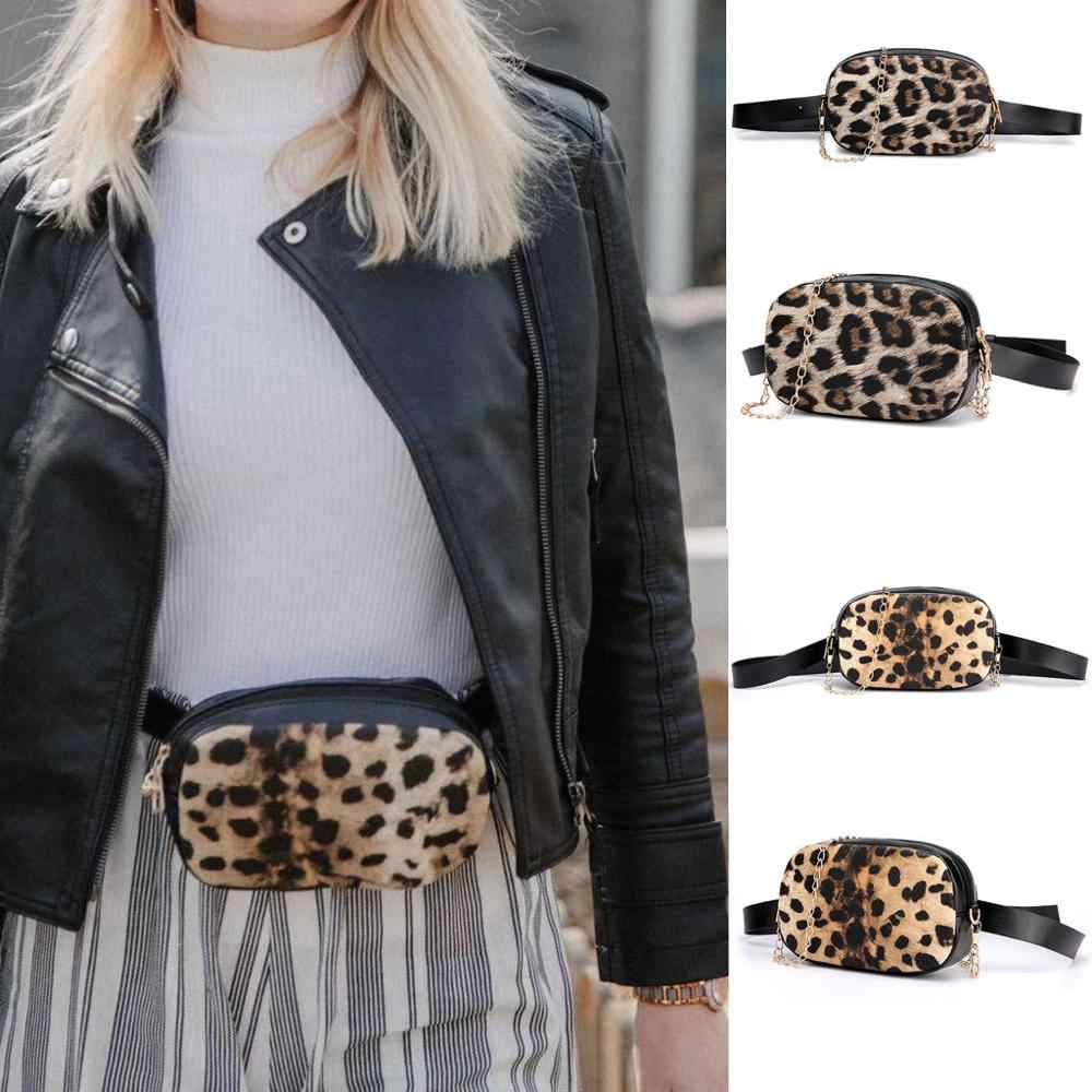 Fashion Women Outdoor Leopard Zipper Messenger Bag Sports Chest Bag Waist Bag  Pu Leahter Waist Bag Famal Fashion Tiger Skin