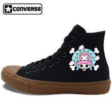 Men Women Converse Chuck Taylor II Shoes Anime One Piece Chopper Canvas Sneakers Skateboarding Shoes Black White All Star