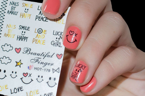 Aliexpress Buy 3 Sheet Smile Face Nail Water Decals Bowknot
