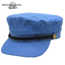 Flat Top Military Hat Women Vintage Beret Cotton Newsboy Cap Painter Hats Female Gorras Black Army 2019 New