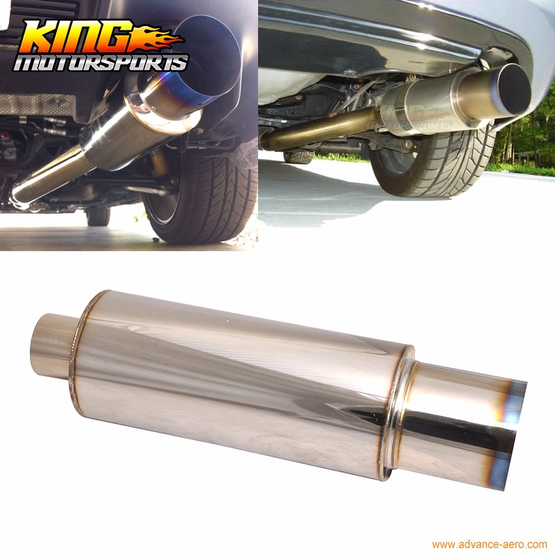 """4/"""" N1 Style Flat Tip Stainless Steel Muffler With 2.5/"""" Inlet Silencer For ACURA"""