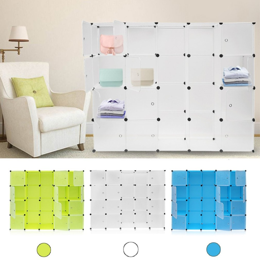 12 rejillas + 2 filas armarios Simple caja de almacenamiento de resina gabinete DIY montado Extra grande mágico niño organizador de armario guardarropa - 2