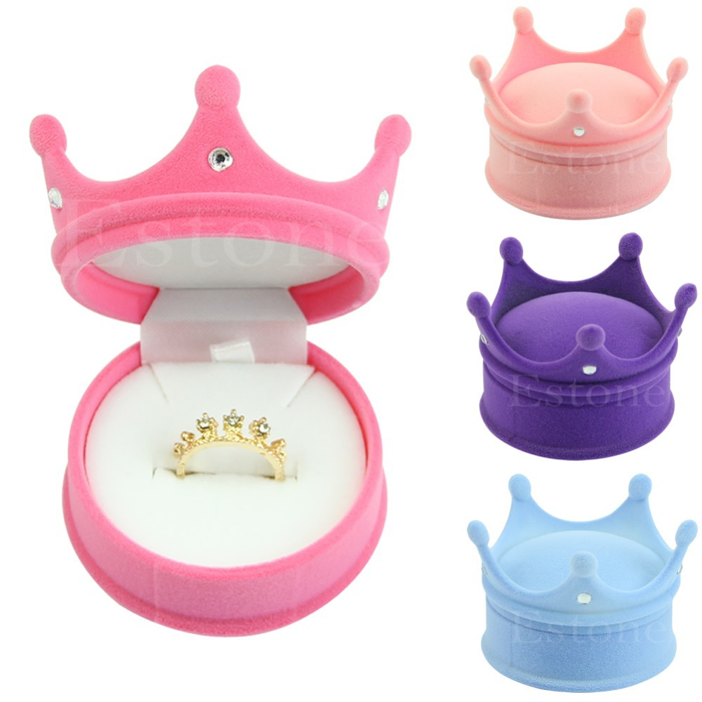 Crown Velvet Ring Display Box Ear Stud Necklace Jewelry Case Container Gift