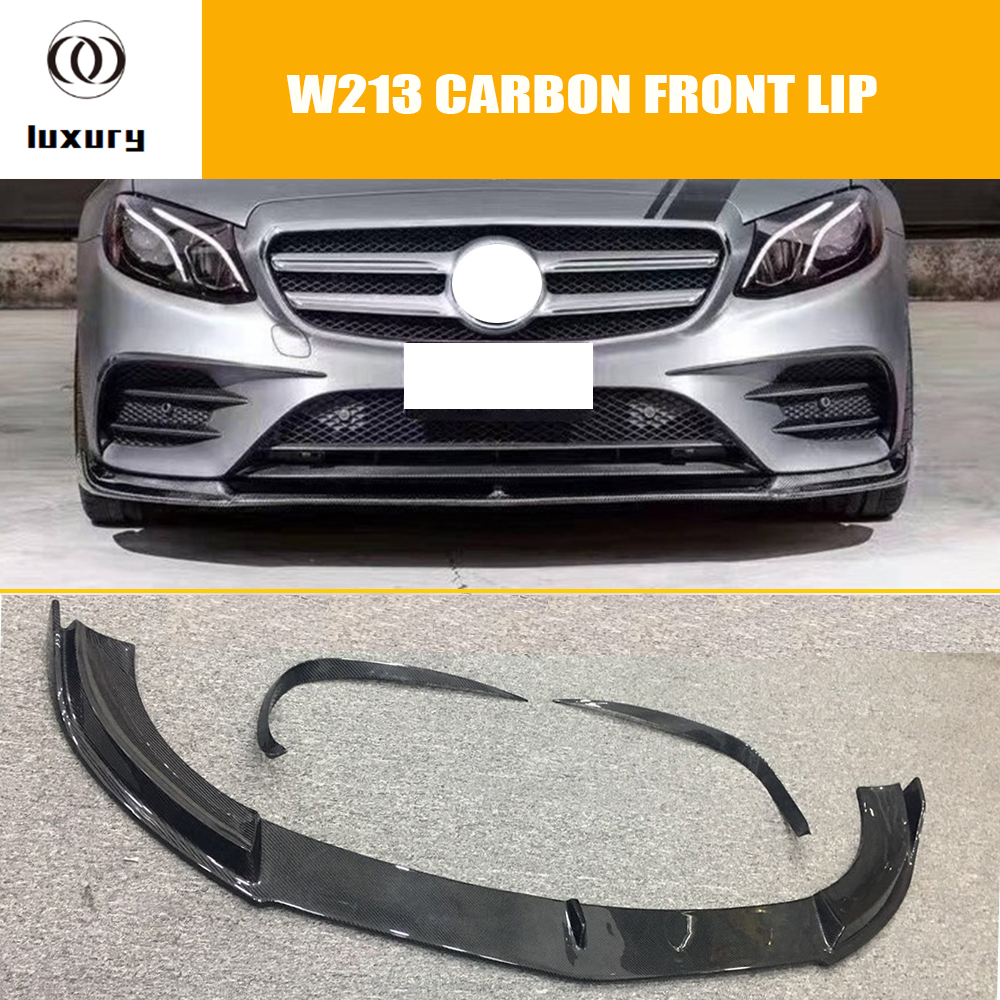 B Style Carbon Fiber Front Bumper Lip Chin Spoiler with Vent Trim for Benz W213 E200 E300 with Amg Package ( can't E63 ) 16 18