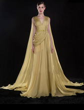 yellow chiffon long evening dress a-line pleat 2015 new arrival formal dresses robe de soiree sexy v-neck vestido festa