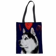Cute Husky Printed Women Canvas Shoulder Bag Clutches Daily Handbags Casual Dog Pattern Shopping Bag For Ladies Bolsa Feminina