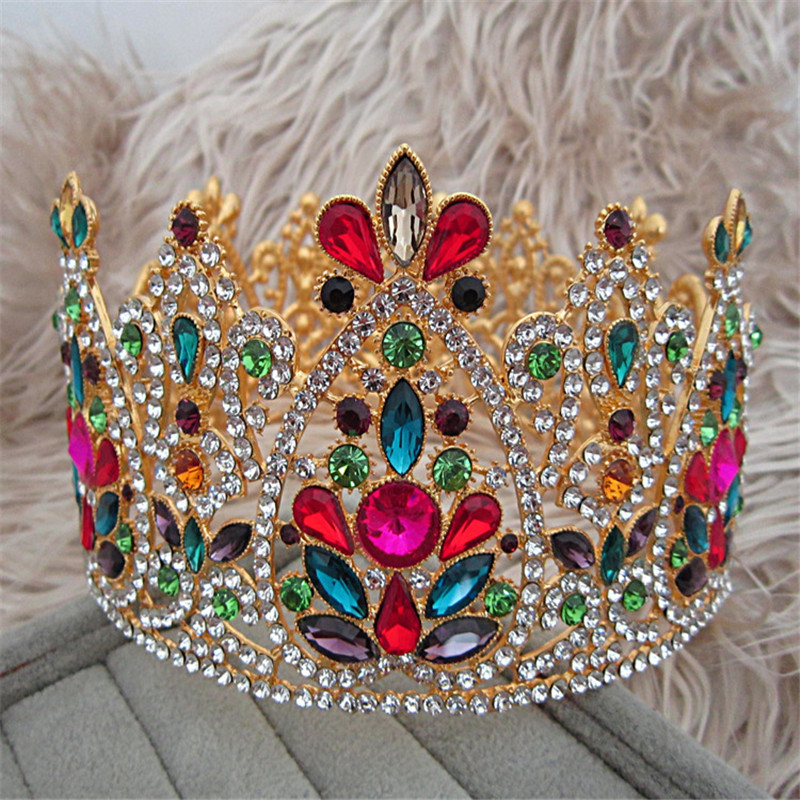 Large Crystal Baroque Wedding Queen King Crown Bridal Tiara Bride Women Prom Hair Ornaments Wedding Hair Jewelry Accessories red crystal wedding crown queen tiara bride crown headband bridal accessories diadem mariage hair jewelry ornaments