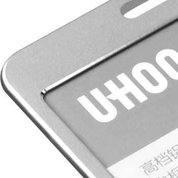 12PCS/lot UHOO Quality Aluminium Alloy Card Holder Name Tag ID Card Holder Work Identity Card Holder Wholesale