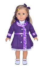 School Uniform Purple Coat Hairband Blouse Outfit Doll Clothes For 18 American Girl Handmade